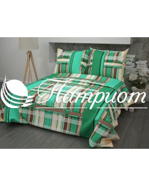 КПБ 1.5 спальный Клетка, зеленый, набивная бязь 125 гм2 351-2