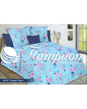 КПБ 1.5 спальный Сакура, голубой, набивная бязь 125 гм2 157-9
