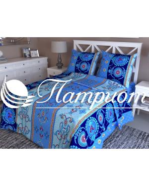 КПБ 1.5 спальный Версаче, синий, набивная бязь 125 гм2 327-2